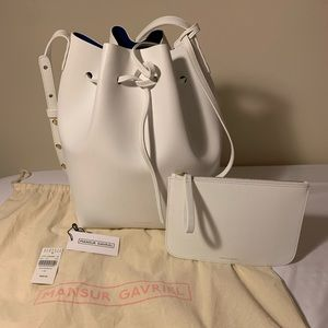 NWT Mansur Gavriel Large Bucket Bag White